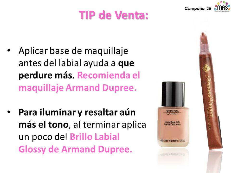 Aplicar base de maquillaje antes del labial ayuda a que perdure más. Recomienda el maquillaje Armand Dupree. Para iluminar y resaltar aún más el tono,