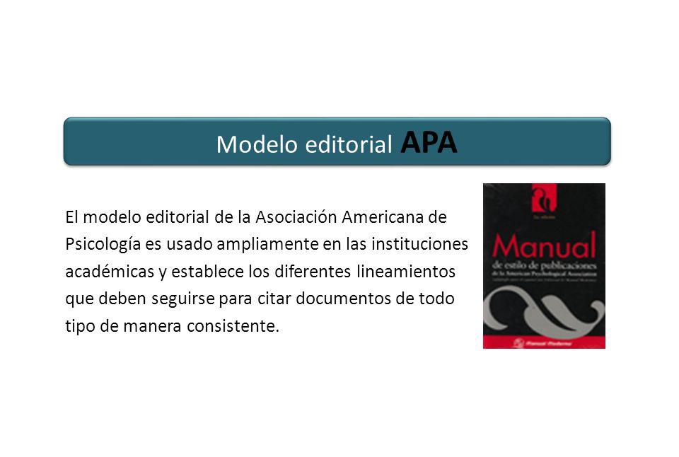 Modelo editorial APA El modelo editorial de la Asociación Americana de Psicología es usado ampliamente en las instituciones académicas y establece los