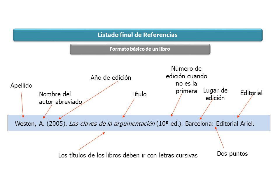 Weston, A. (2005). Las claves de la argumentación (10ª ed.). Barcelona: Editorial Ariel. Apellido Año de edición Título Lugar de edición Listado final