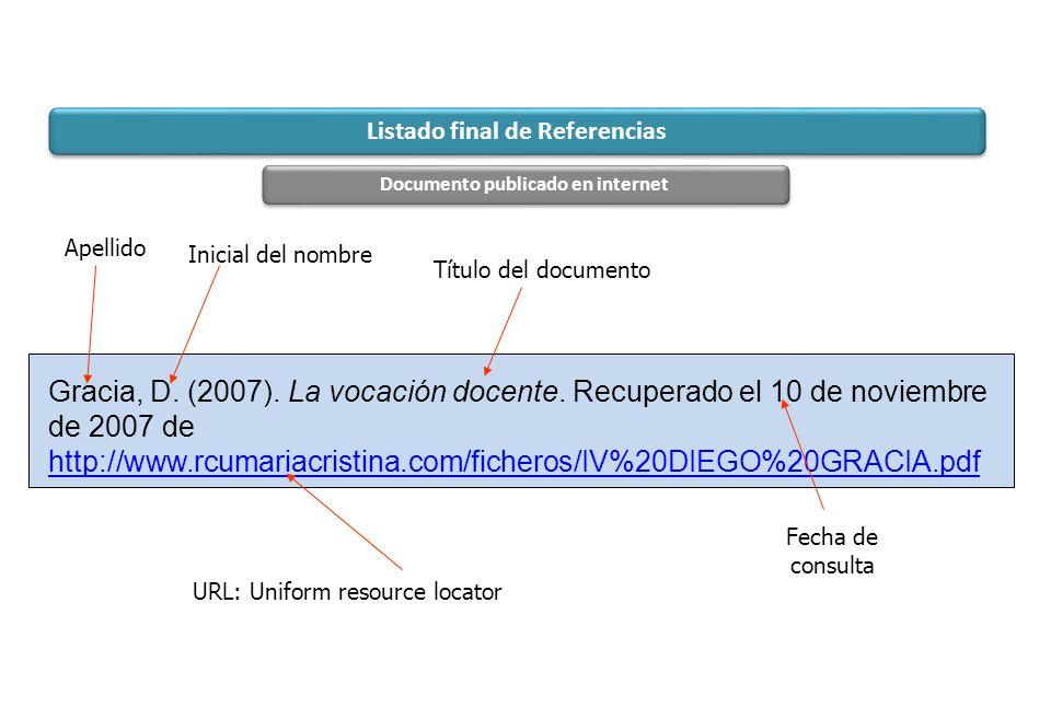 Apellido URL: Uniform resource locator Título del documento Fecha de consulta Gracia, D. (2007). La vocación docente. Recuperado el 10 de noviembre de