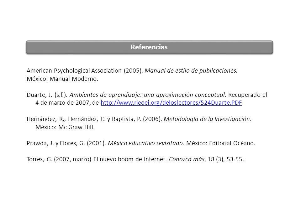 American Psychological Association (2005). Manual de estilo de publicaciones. México: Manual Moderno. Duarte, J. (s.f.). Ambientes de aprendizaje: una