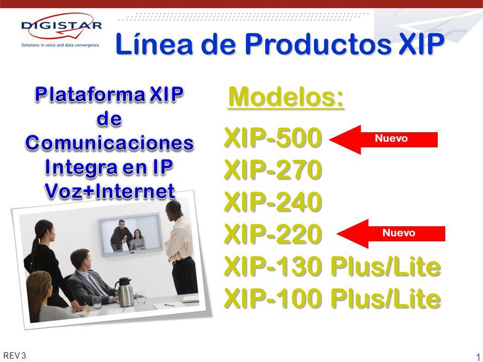1 REV 3 XIP-500 XIP-270 XIP-240 XIP-220 XIP-130 Plus/Lite XIP-100 Plus/Lite XIP-500 XIP-270 XIP-240 XIP-220 XIP-130 Plus/Lite XIP-100 Plus/Lite Nuevo Línea de Productos XIP Modelos: