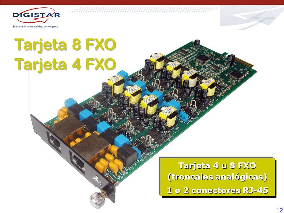 12 Tarjeta 8 FXO Tarjeta 4 FXO Tarjeta 8 FXO Tarjeta 4 FXO Tarjeta 4 u 8 FXO (troncales analógicas) 1 o 2 conectores RJ-45