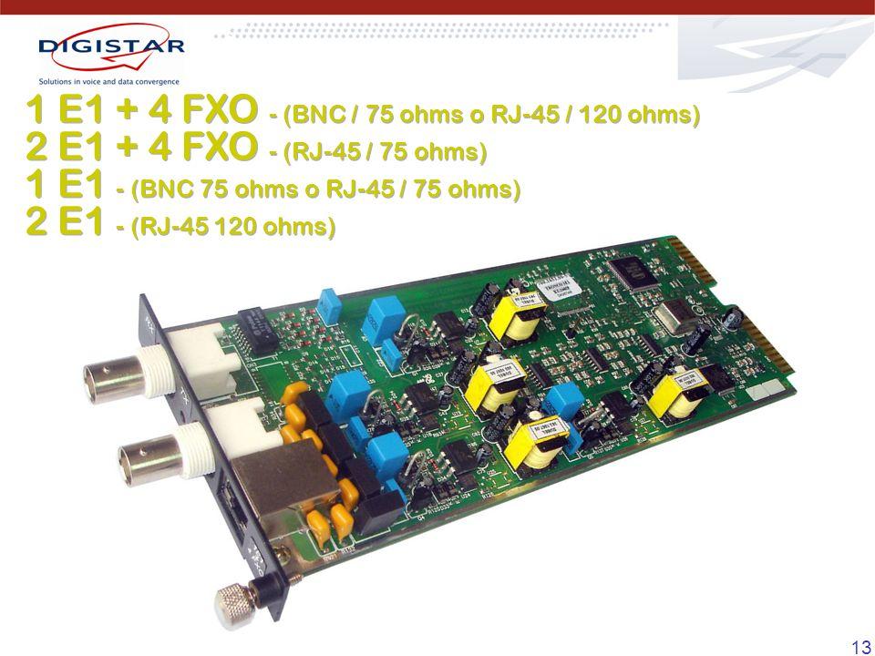 13 1 E1 + 4 FXO - (BNC / 75 ohms o RJ-45 / 120 ohms) 2 E1 + 4 FXO - (RJ-45 / 75 ohms) 1 E1 - (BNC 75 ohms o RJ-45 / 75 ohms) 2 E1 - (RJ-45 120 ohms) 1 E1 + 4 FXO - (BNC / 75 ohms o RJ-45 / 120 ohms) 2 E1 + 4 FXO - (RJ-45 / 75 ohms) 1 E1 - (BNC 75 ohms o RJ-45 / 75 ohms) 2 E1 - (RJ-45 120 ohms)