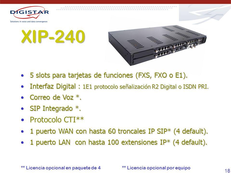 18 XIP-240 5 slots para tarjetas de funciones (FXS, FXO o E1).5 slots para tarjetas de funciones (FXS, FXO o E1). Interfaz Digital : 1E1 protocolo señ