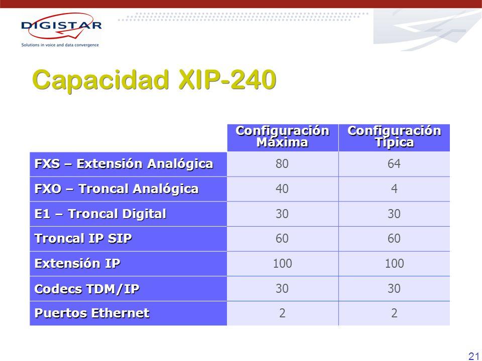 21 Configuración Máxima Configuración Típica FXS – Extensión Analógica 8064 FXO – Troncal Analógica 404 E1 – Troncal Digital 30 Troncal IP SIP 60 Exte