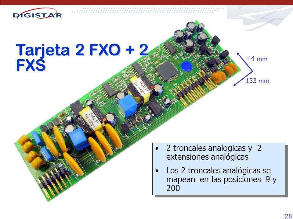 28 Tarjeta 2 FXO + 2 FXS 133 mm 44 mm 2 troncales analogicas y 2 extensiones analógicas Los 2 troncales analógicas se mapean en las posiciones 9 y 200