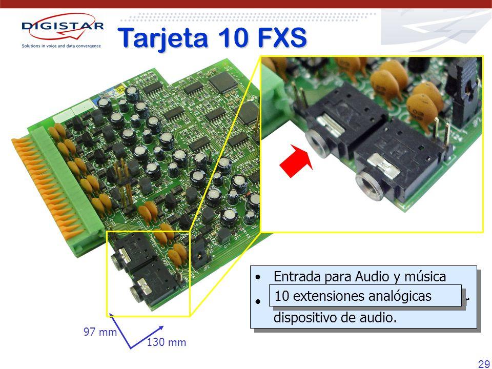 29 Tarjeta 10 FXS 130 mm 97 mm Entrada para Audio y música Puede ser conectado a cualquier dispositivo de audio. Entrada para Audio y música Puede ser