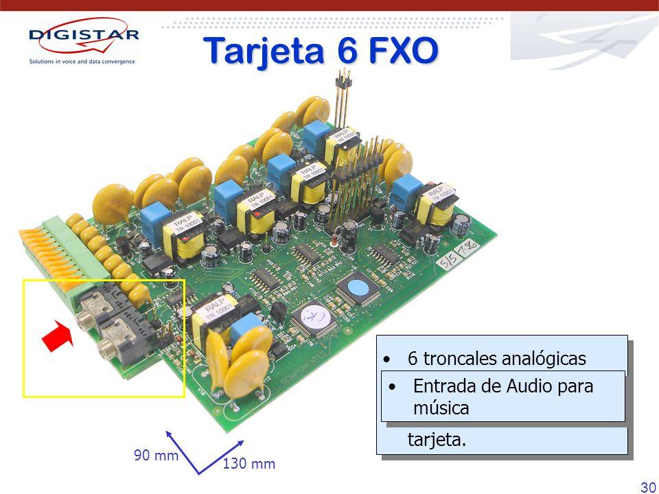 30 6 troncales analógicas Interfaz E1 no disponible cuando se instala esta tarjeta. 6 troncales analógicas Interfaz E1 no disponible cuando se instala