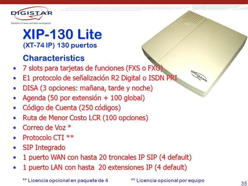 35 7 slots para tarjetas de funciones (FXS o FXO)7 slots para tarjetas de funciones (FXS o FXO) E1 protocolo de señalización R2 Digital o ISDN PRIE1 p
