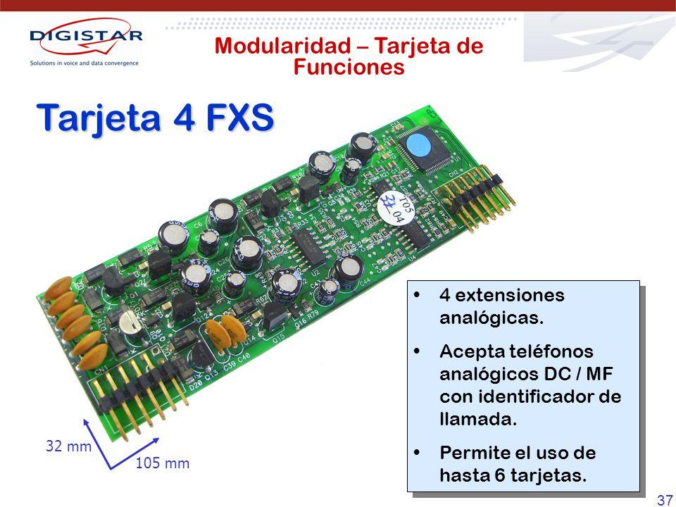 37 Tarjeta 4 FXS 4 extensiones analógicas. Acepta teléfonos analógicos DC / MF con identificador de llamada. Permite el uso de hasta 6 tarjetas. 4 ext