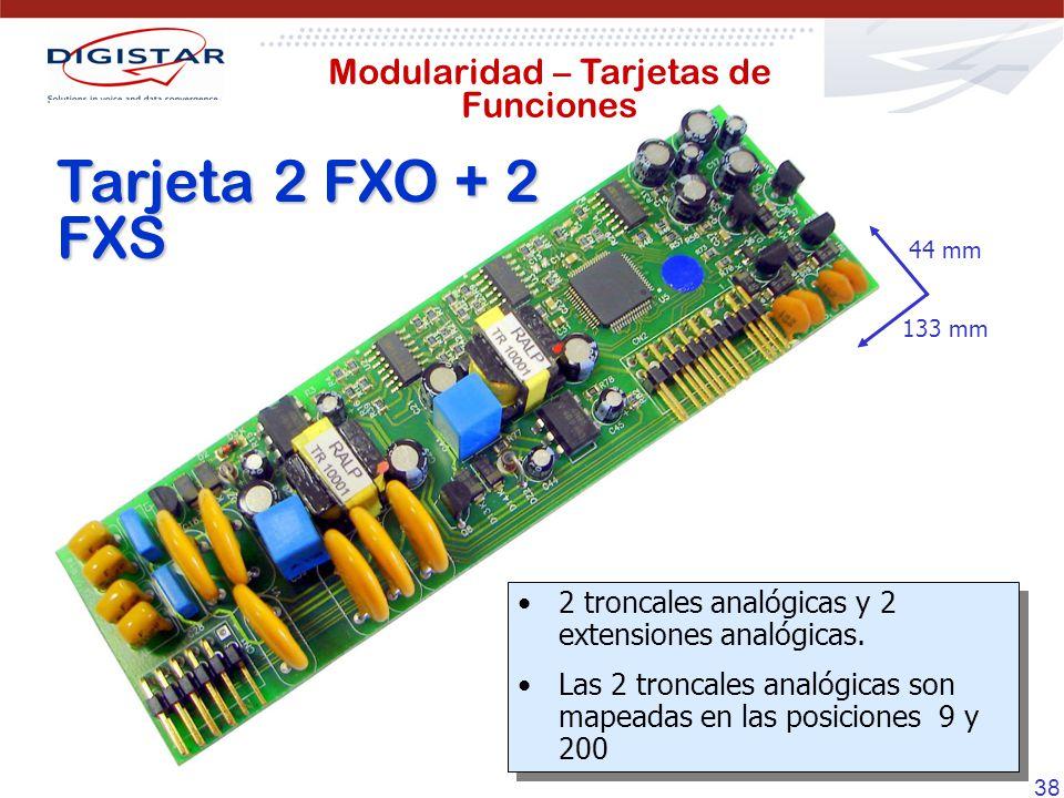 38 Tarjeta 2 FXO + 2 FXS 133 mm 44 mm 2 troncales analógicas y 2 extensiones analógicas. Las 2 troncales analógicas son mapeadas en las posiciones 9 y