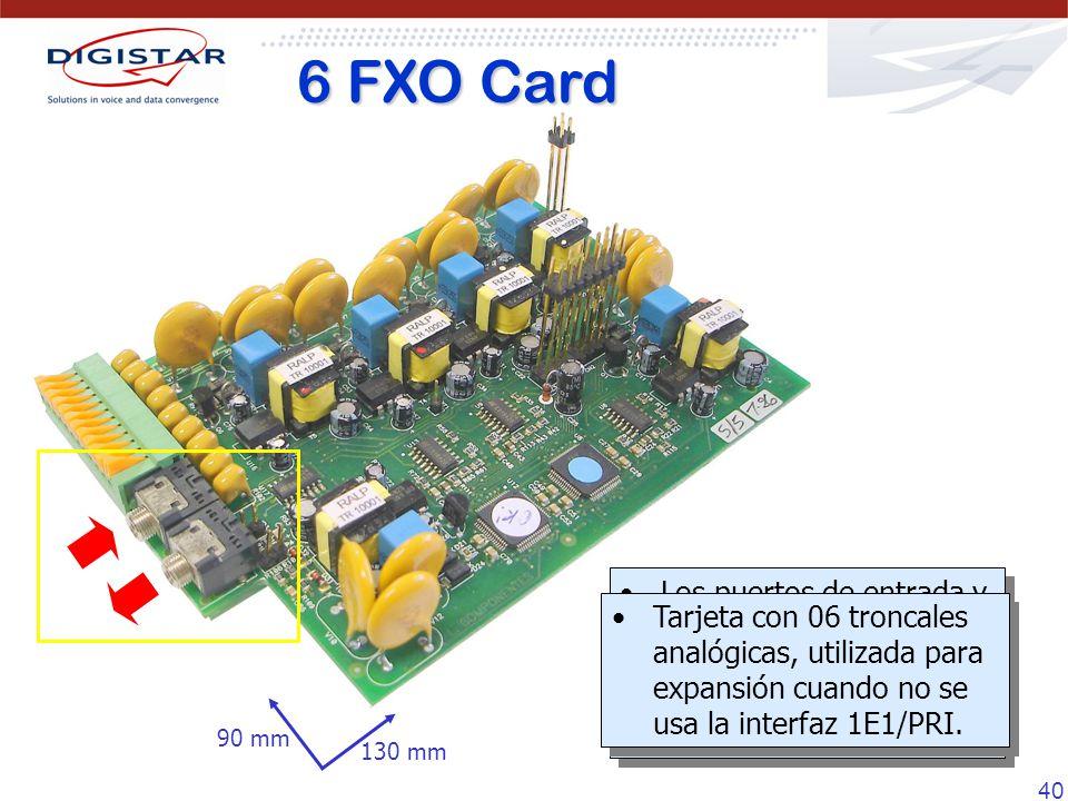 40 Los puertos de entrada y salida de música/audio funcionan de la misma forma que en la tarjeta 10 FXS. Tarjeta con 06 troncales analógicas, utilizad
