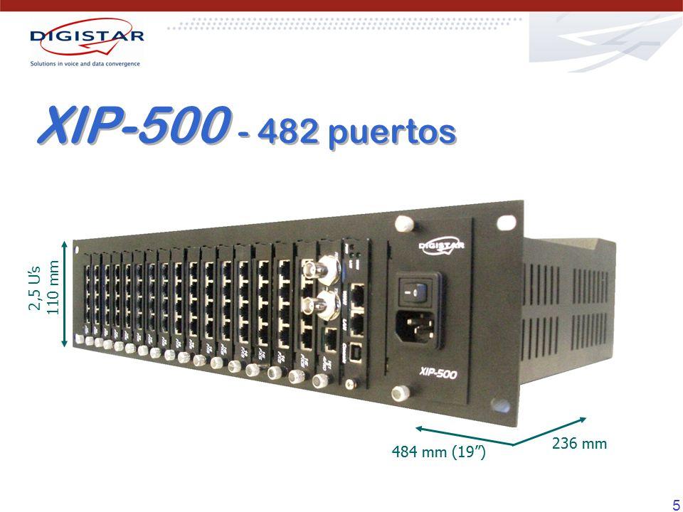 16 Configuración Máxima Configuración Típica FXS – Extensiones Analógicas 11296 FXO - Troncales Analógicas 564 E1 – Troncales Digitales 60 Troncales IP 60 Extensiones IP 100 Codecs TDM/IP 30 Puertos Ethernet 22 Capacidad XIP-270