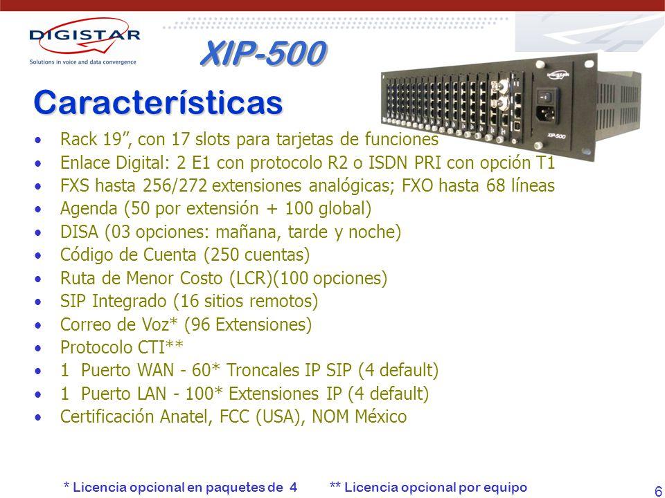 6 Características Rack 19, con 17 slots para tarjetas de funciones Enlace Digital: 2 E1 con protocolo R2 o ISDN PRI con opción T1 FXS hasta 256/272 ex