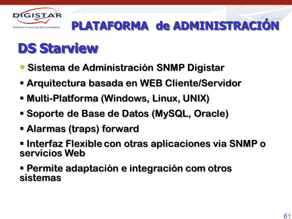 61 DS Starview Sistema de Administración SNMP Digistar Sistema de Administración SNMP Digistar Arquitectura basada en WEB Cliente/Servidor Arquitectura basada en WEB Cliente/Servidor Multi-Platforma (Windows, Linux, UNIX) Multi-Platforma (Windows, Linux, UNIX) Soporte de Base de Datos (MySQL, Oracle) Soporte de Base de Datos (MySQL, Oracle) Alarmas (traps) forward Alarmas (traps) forward Interfaz Flexible con otras aplicaciones via SNMP o servicios Web Interfaz Flexible con otras aplicaciones via SNMP o servicios Web Permite adaptación e integración com otros sistemas Permite adaptación e integración com otros sistemas PLATAFORMA de ADMINISTRACIÓN