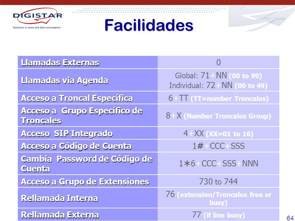 64 Llamadas Externas 0 Llamadas via Agenda Global: 71+NN (00 to 99) Individual: 72+NN (00 to 49) Acceso a Troncal Específica 6+TT (TT=number Troncales) Acceso a Grupo Específico de Troncales 8+X (Number Troncales Group) Acceso SIP Integrado 4+XX (XX=01 to 16) Acceso a Código de Cuenta 1#+CCC+SSS Cambia Password de Código de Cuenta 1 6+CCC+SSS+NNN Acceso a Grupo de Extensiones 730 to 744 Rellamada Interna 76 (extension/Troncales free or busy) Rellamada Externa 77 (if line busy) Facilidades