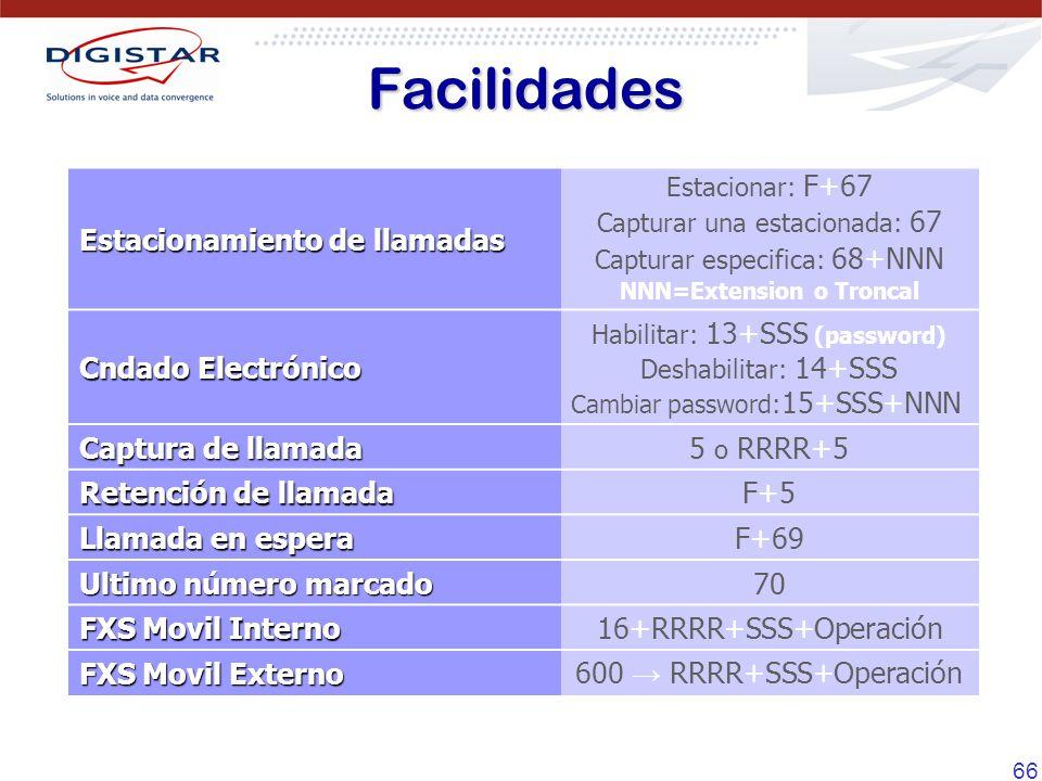 66 Estacionamiento de llamadas Estacionar: F+67 Capturar una estacionada: 67 Capturar especifica: 68+NNN NNN=Extension o Troncal Cndado Electrónico Ha