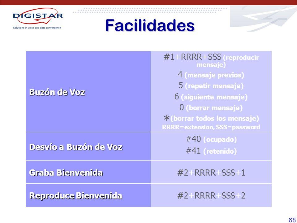 68 Buzón de Voz #1+RRRR+SSS (reproducir mensaje) 4 (mensaje previos) 5 (repetir mensaje) 6 (siguiente mensaje) 0 (borrar mensaje) (borrar todos los mensaje) RRRR=extension, SSS=password Desvío a Buzón de Voz #40 (ocupado) #41 (retenido) Graba Bienvenida #2+RRRR+SSS+1 Reproduce Bienvenida #2+RRRR+SSS+2 Facilidades