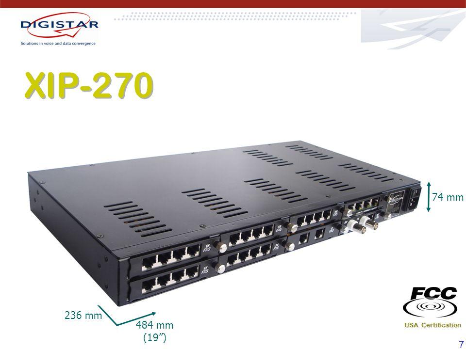 18 XIP-240 5 slots para tarjetas de funciones (FXS, FXO o E1).5 slots para tarjetas de funciones (FXS, FXO o E1).