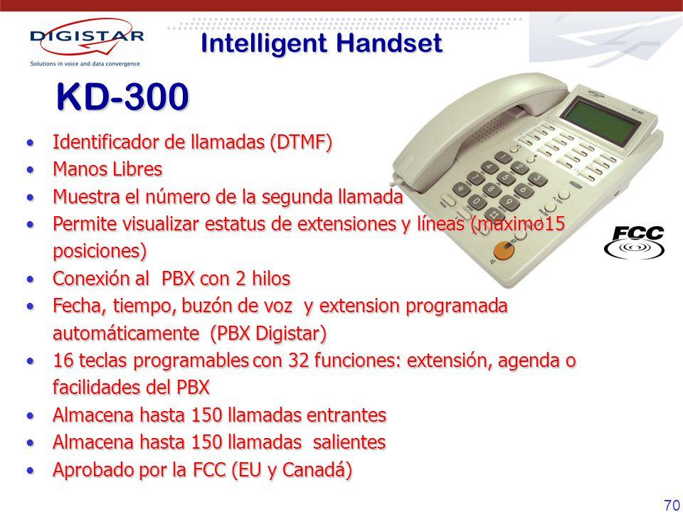 70 Identificador de llamadas (DTMF)Identificador de llamadas (DTMF) Manos LibresManos Libres Muestra el número de la segunda llamadaMuestra el número