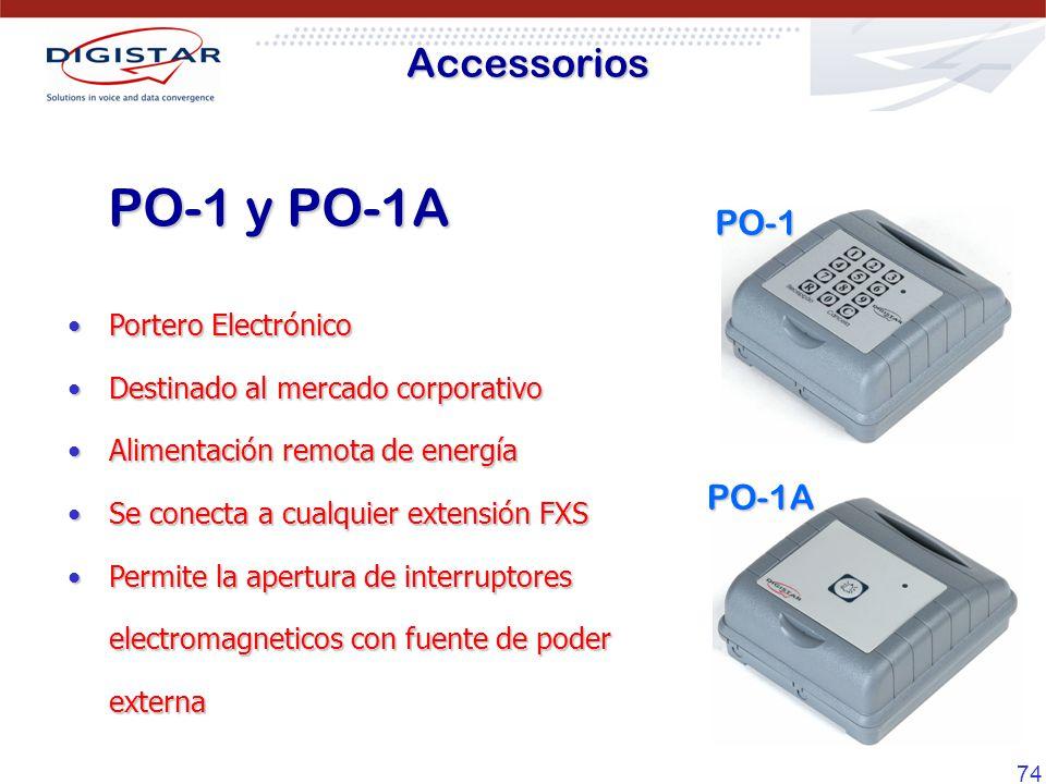74 Accessorios PO-1 y PO-1A PO-1 PO-1A Portero ElectrónicoPortero Electrónico Destinado al mercado corporativoDestinado al mercado corporativo Aliment