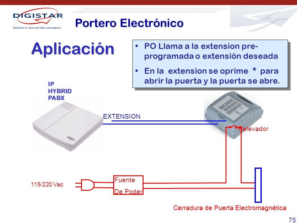 75 Aplicación PO Llama a la extension pre- programada o extensión deseada En la extension se oprime * para abrir la puerta y la puerta se abre. PO Lla