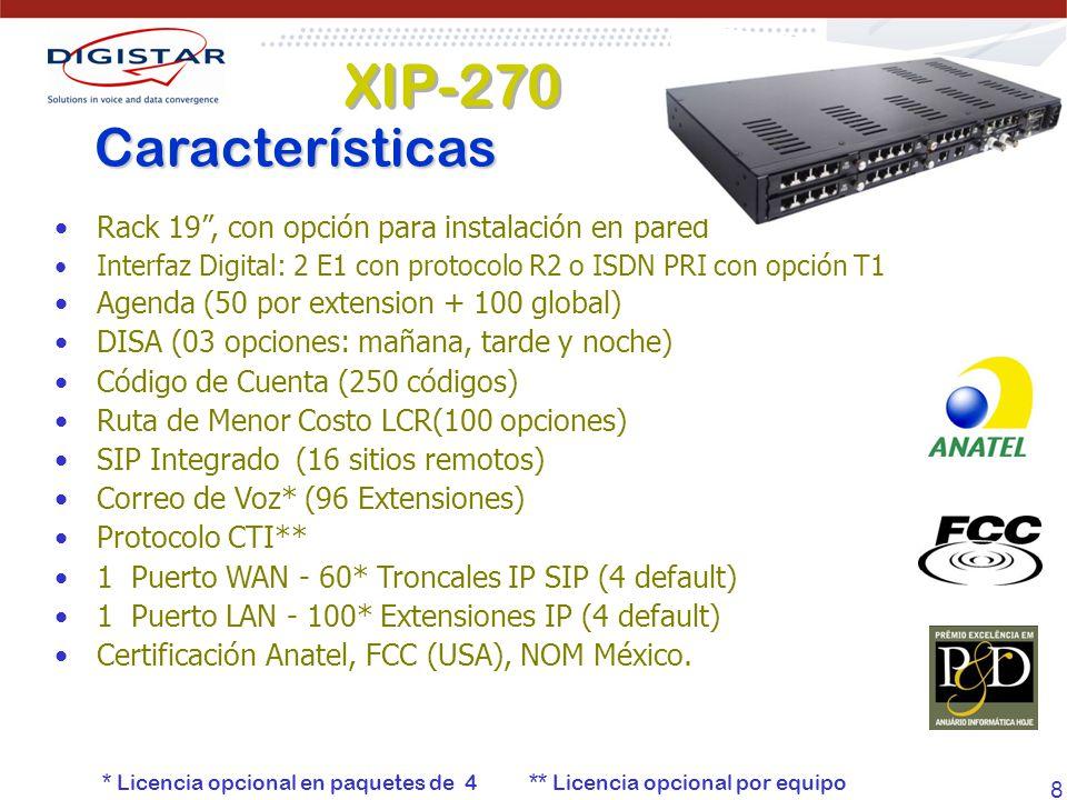 8 Rack 19, con opción para instalación en pared Interfaz Digital: 2 E1 con protocolo R2 o ISDN PRI con opción T1 Agenda (50 por extension + 100 global