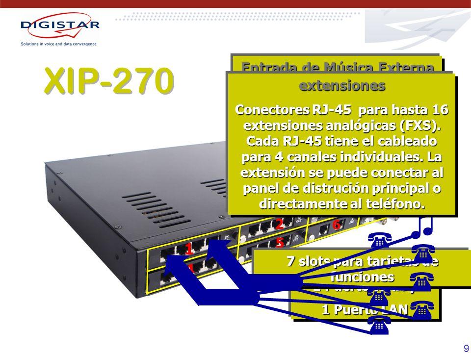 9 1 2 3 6 7 5 4 Tarjeta CPU 1 Puerto WAN y 1 Puerto LAN 7 slots para tarjetas de funciones Entrada de Música Externa La interfaz de entrada de música está disponible en el último canal del slot 1 (interfaz de música incluída) extensiones Conectores RJ-45 para hasta 16 extensiones analógicas (FXS).