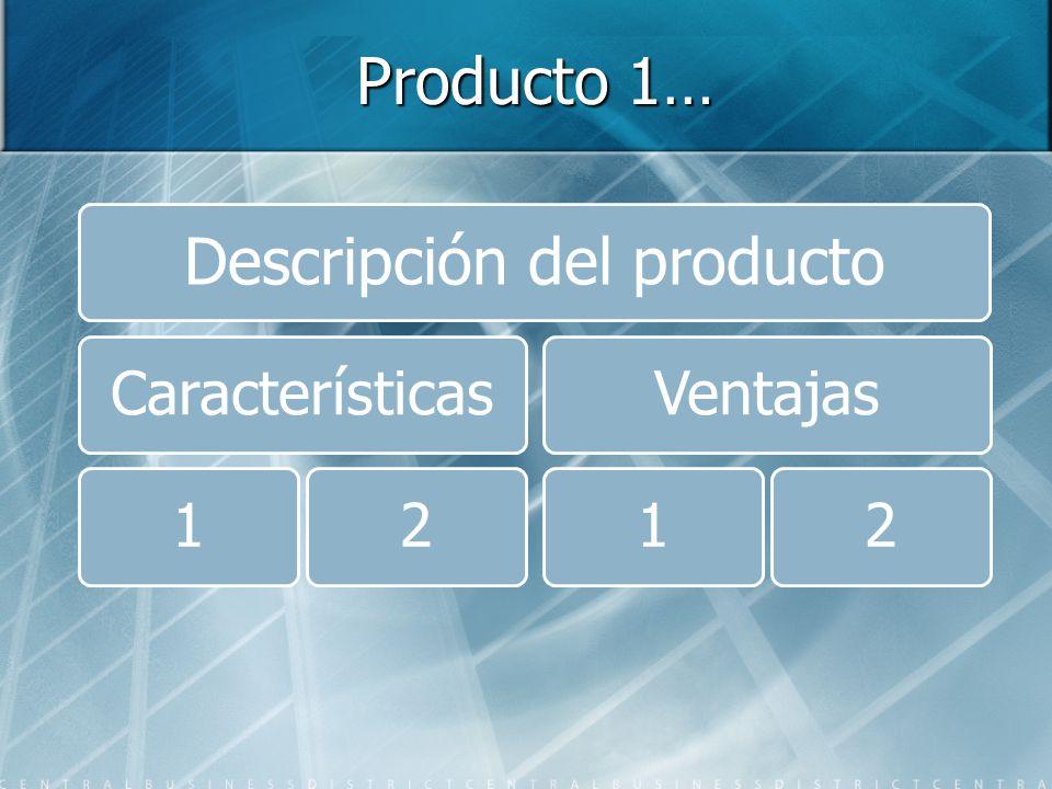 Producto 1… Descripción del producto Características12Ventajas12