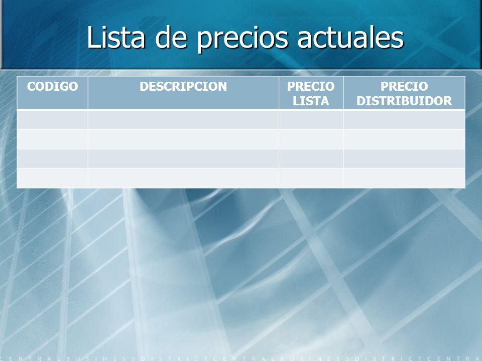 Lista de precios actuales CODIGODESCRIPCIONPRECIO LISTA PRECIO DISTRIBUIDOR
