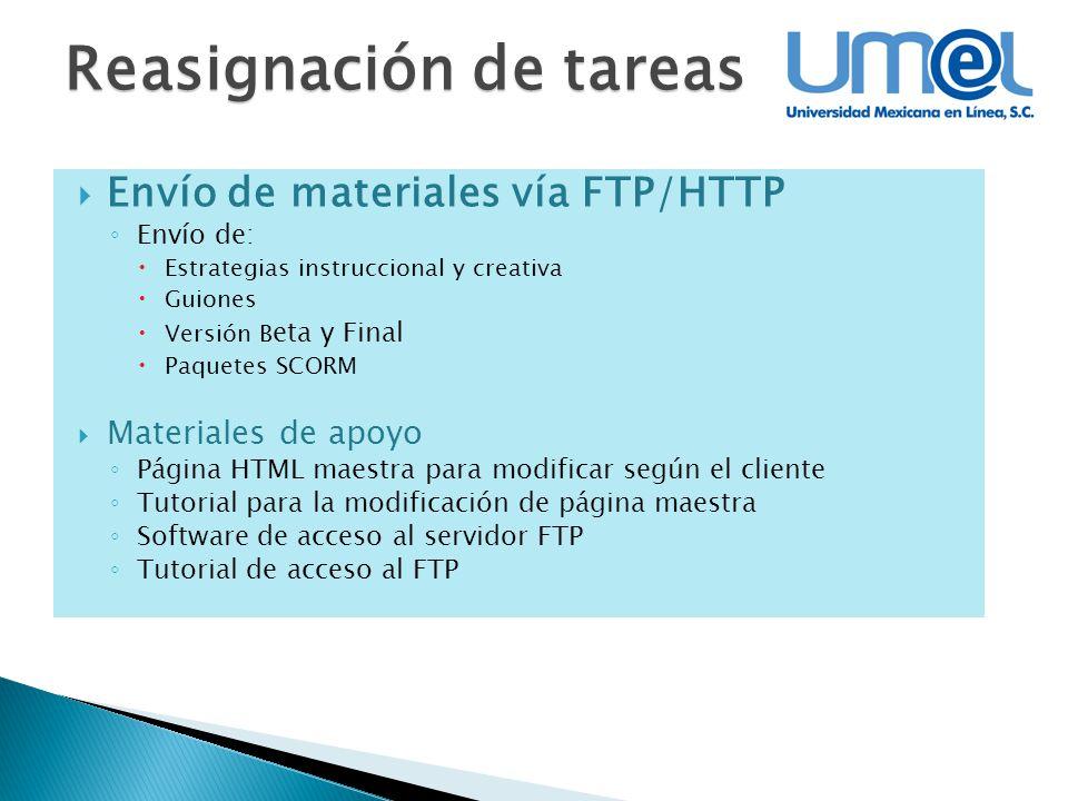 Reasignación de tareas Envío de materiales vía FTP/HTTP Envío de: Estrategias instruccional y creativa Guiones Versión B eta y Final Paquetes SCORM Ma