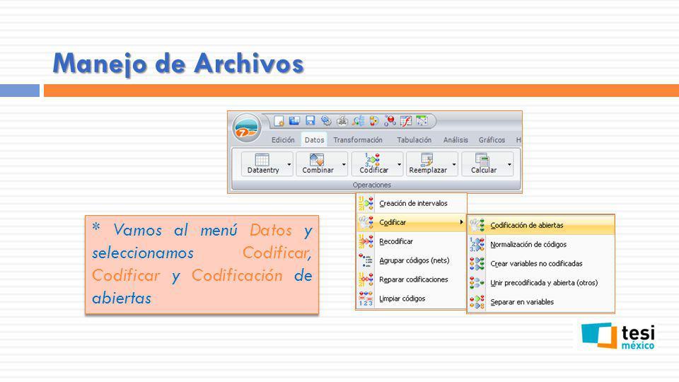 Manejo de Archivos * Vamos al menú Datos y seleccionamos Codificar, Codificar y Codificación de abiertas