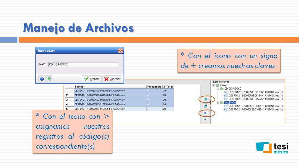 Manejo de Archivos * Con el icono con > asignamos nuestros registros al código(s) correspondiente(s) * Con el icono con un signo de + creamos nuestras