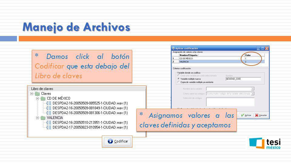 Manejo de Archivos * Damos click al botón Codificar que esta debajo del Libro de claves * Asignamos valores a las claves definidas y aceptamos