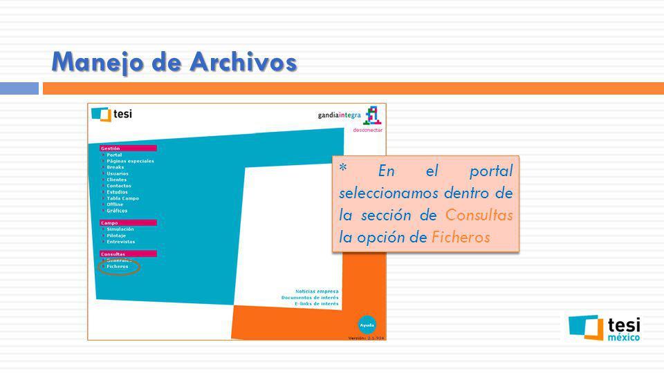 Manejo de Archivos * En el portal seleccionamos dentro de la sección de Consultas la opción de Ficheros