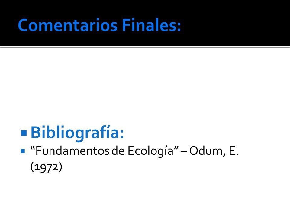 Bibliografía: Fundamentos de Ecología – Odum, E. (1972)