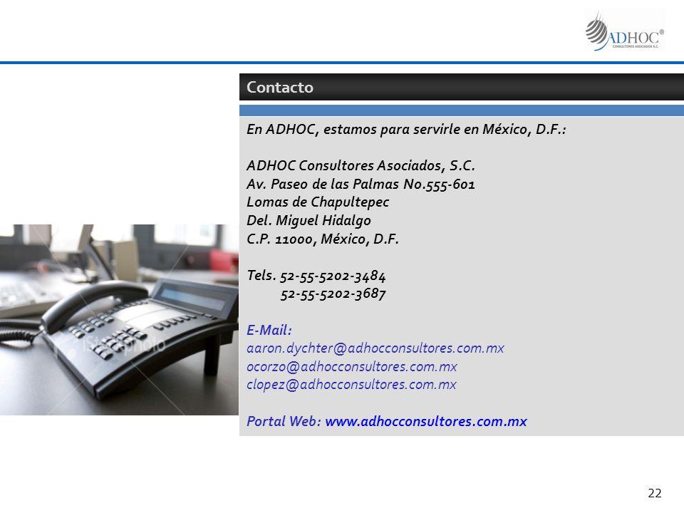 Contacto En ADHOC, estamos para servirle en México, D.F.: ADHOC Consultores Asociados, S.C. Av. Paseo de las Palmas No.555-601 Lomas de Chapultepec De