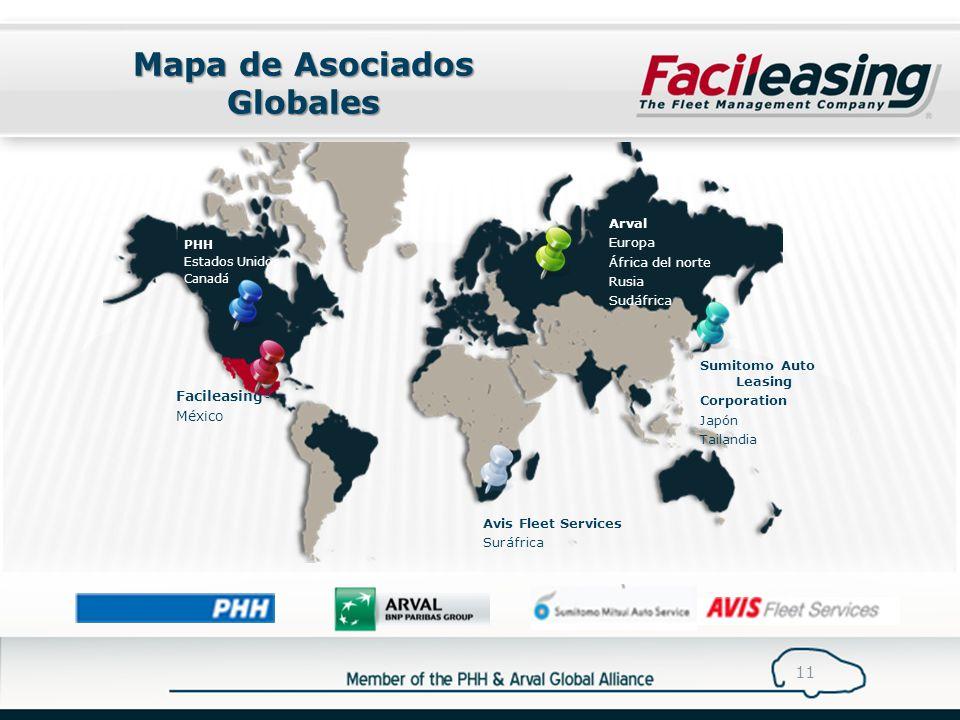 Mapa de Asociados Globales 11 Arval Europa África del norte Rusia Sudáfrica PHH Estados Unidos Canadá Avis Fleet Services Suráfrica Sumitomo Auto Leasing Corporation Japón Tailandia Facileasing ® México