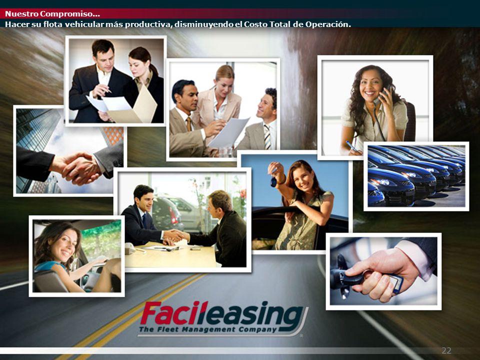 Nuestro Compromiso... Hacer su flota vehicular más productiva, disminuyendo el Costo Total de Operación. 22