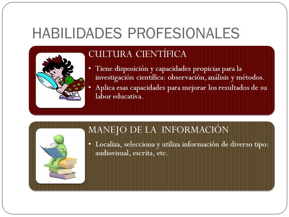 HABILIDADES PROFESIONALES CULTURA CIENTÍFICA Tiene disposición y capacidades propicias para la investigación científica: observación, análisis y métodos.
