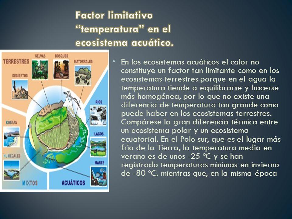 En los ecosistemas acuáticos el calor no constituye un factor tan limitante como en los ecosistemas terrestres porque en el agua la temperatura tiende