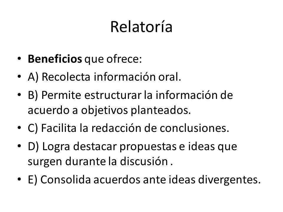 Relatoría Beneficios que ofrece: A) Recolecta información oral. B) Permite estructurar la información de acuerdo a objetivos planteados. C) Facilita l