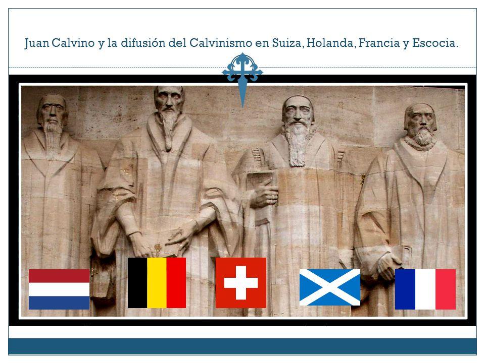 Juan Calvino y la difusión del Calvinismo en Suiza, Holanda, Francia y Escocia.