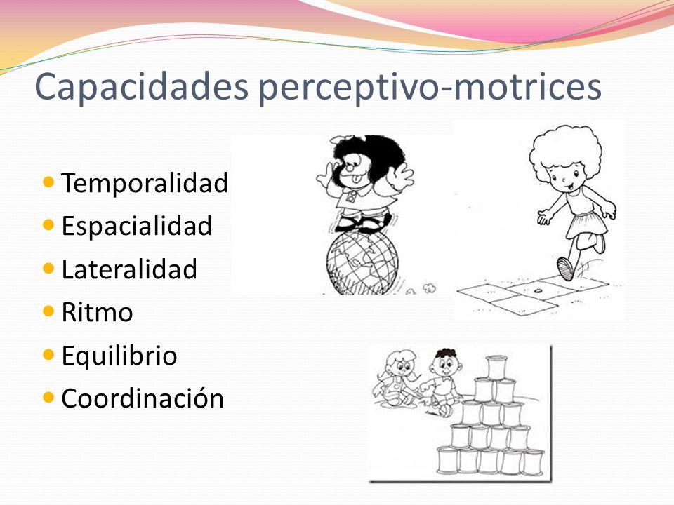 Capacidades perceptivo-motrices Temporalidad Espacialidad Lateralidad Ritmo Equilibrio Coordinación