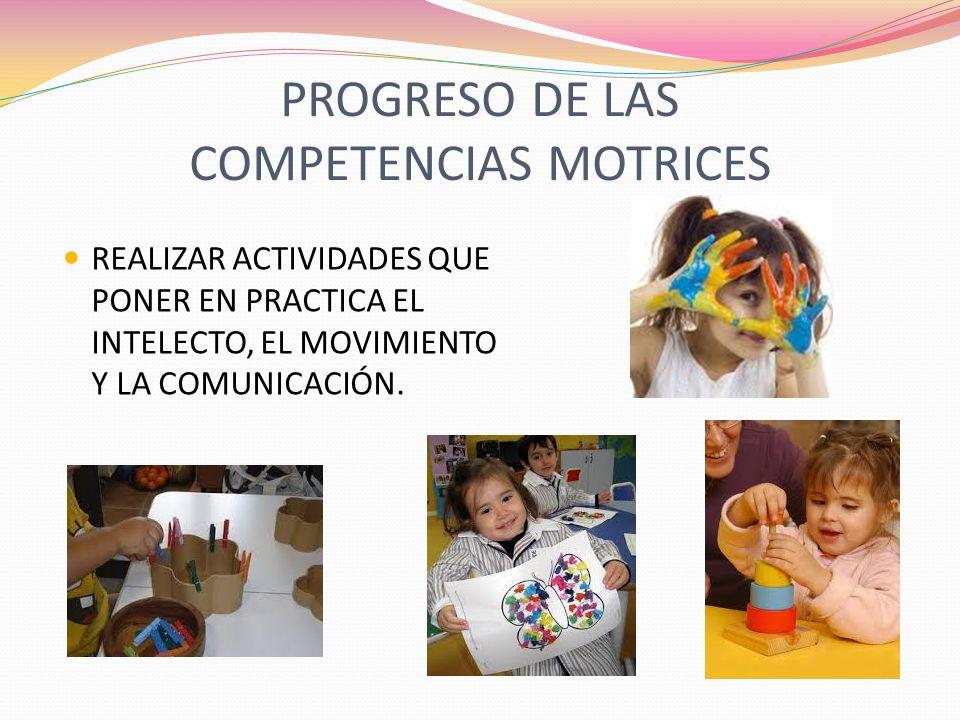 PROGRESO DE LAS COMPETENCIAS MOTRICES REALIZAR ACTIVIDADES QUE PONER EN PRACTICA EL INTELECTO, EL MOVIMIENTO Y LA COMUNICACIÓN.