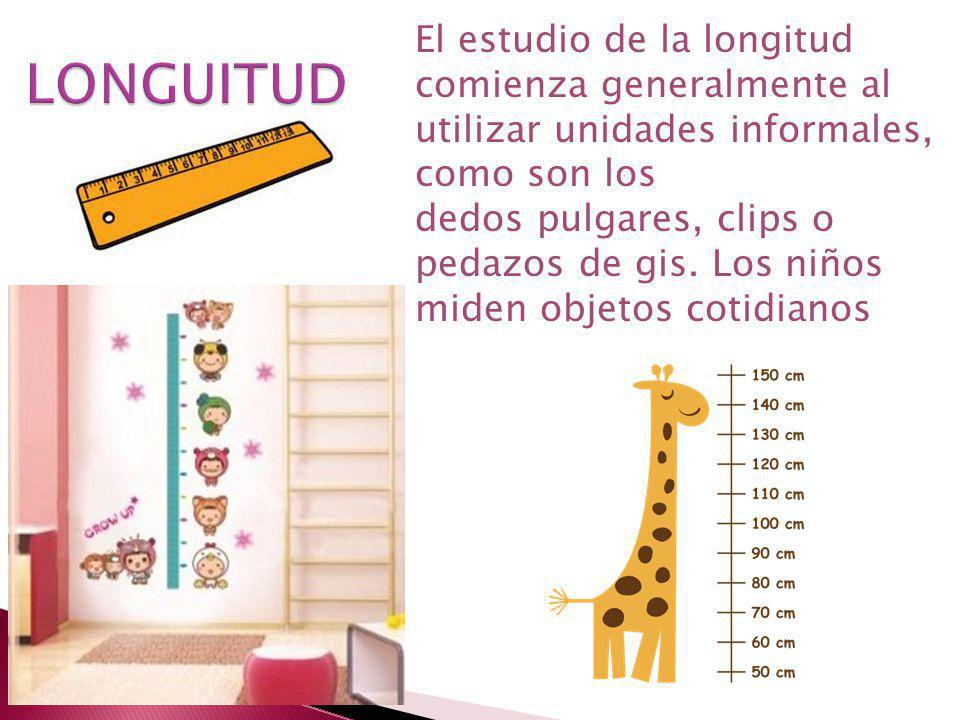 El estudio de la longitud comienza generalmente al utilizar unidades informales, como son los dedos pulgares, clips o pedazos de gis. Los niños miden