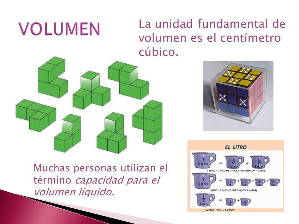 Muchas personas utilizan el término capacidad para el volumen líquido. La unidad fundamental de volumen es el centímetro cúbico.