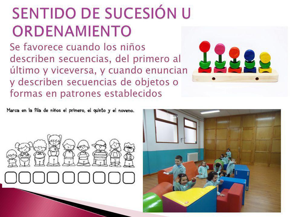 Se favorece cuando los niños describen secuencias, del primero al último y viceversa, y cuando enuncian y describen secuencias de objetos o formas en