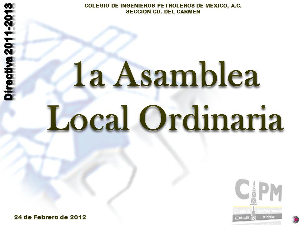 COLEGIO DE INGENIEROS PETROLEROS DE MEXICO, A.C. SECCIÓN CD. DEL CARMEN 24 de Febrero de 2012